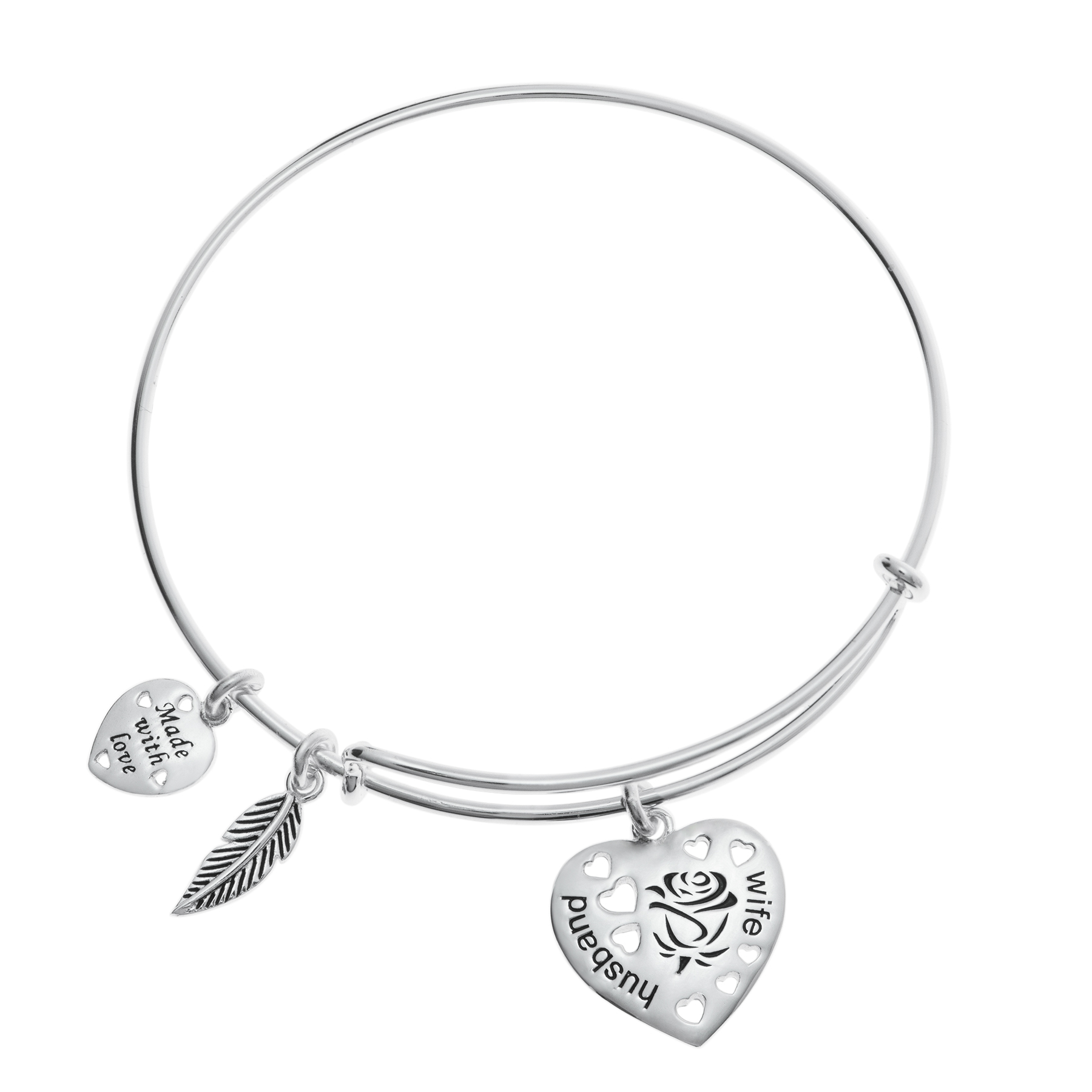 Sterling Silver Rose Husband & Wife Heart Feather Dangle Charm A