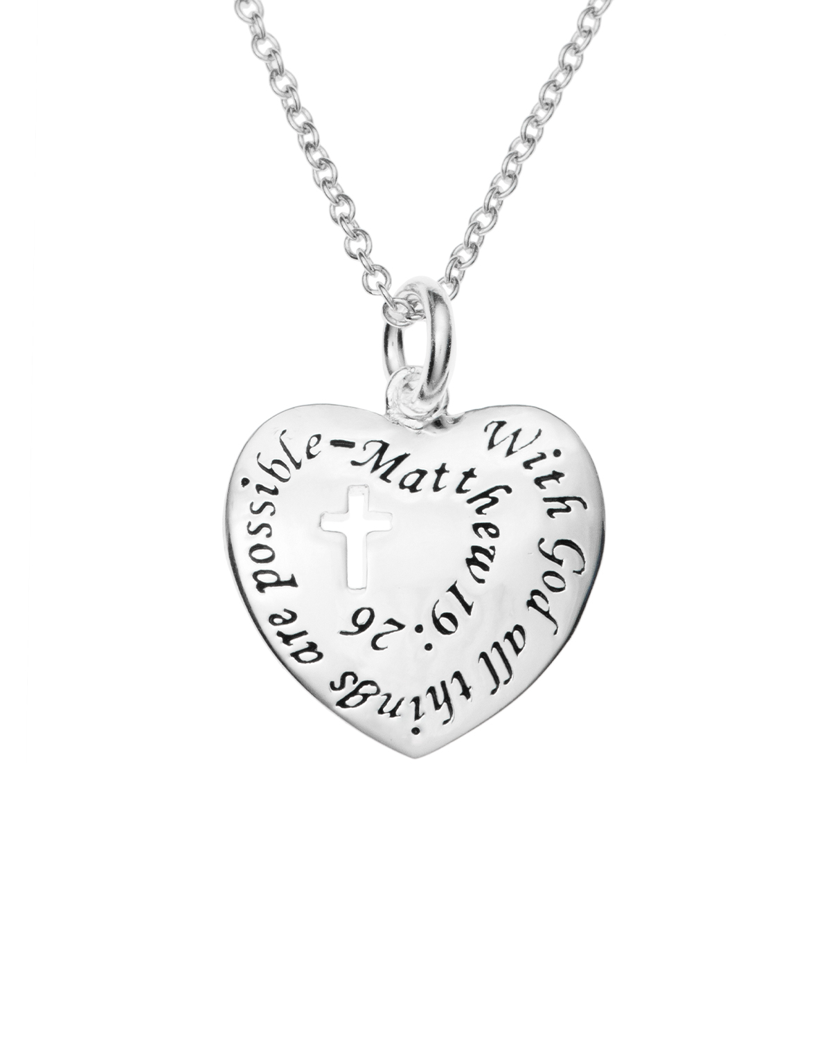 Silver with God All Things Are Possible Heart Charm